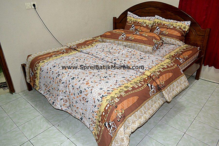Bed Cover Batik Wayang Malioboro Brown