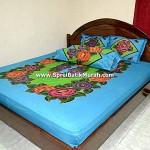 Sprei Batik Lukis Modern Biru
