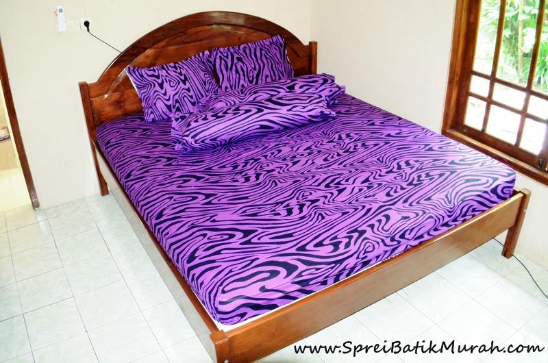Sprei Batik | Sprei Batik Ungu Motif Zebra